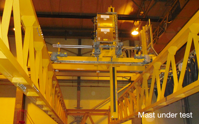 Waste removal mast under test