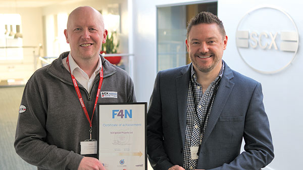 HEQ Manager Tony Nudd and Group Marketing Manager Darren Falkingham with F4N Certificate