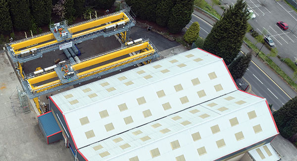 Aerial view of two Goliath cranes manufactured by SCX Special Projects outside one of its premises in Sheffield